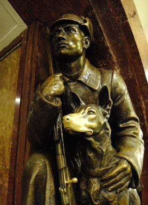 Soldier with dog - detail